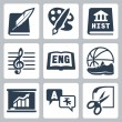 Vector school subjects icons set: literature, art, history, music, english, PE, economics, foreign languages, crafts — Stock Vector