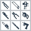 Vector isolated tools icons set — Stock vektor