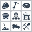 Stock Vector: Vector isolated mining icons set
