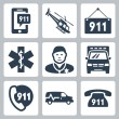 Stock Vector: Vector emergency service icons set