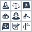 Stock Vector: Vector law and justice icons set