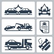 Vector breakdown truck and car accident icons set — Stock Vector #42122031