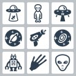 Vector aliens and ufo icons set — Stock Vector