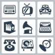Vector retro technology icons set 1 — Stock Vector