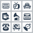 Vector retro technology icons set 1 — Stock Vector #42122209