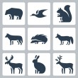 Vector forest animals icons set — Stock Vector #42124035
