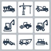 Vector construction equipment icons set — Stock Vector