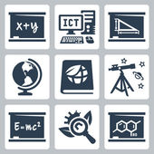 Vector school subjects icons set: algebra, ICT, geometry, geography, ecology, astronomy, physics, biology, chemistry — Stock Vector