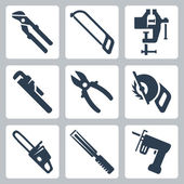 Vector isolated tools icons set — Stok Vektör