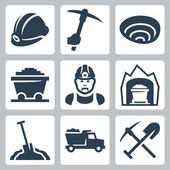Vector isolated mining icons set — Stock Vector