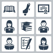 Vector higher education icons set — Stock Vector