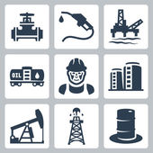 Vector oil industry icons set — Stock Vector