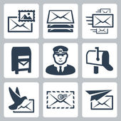 Vector post service icons set — Stock Vector