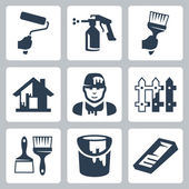 Vector house painter icons set — Stock Vector