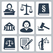 Vector law and justice icons set — Stock Vector