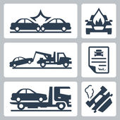 Vector breakdown truck and car accident icons set — Stock Vector