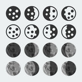 Vector phases of the moon icons set — Stock Vector