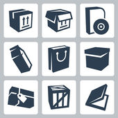 Vector isolated package icons set 1 — Vettoriale Stock