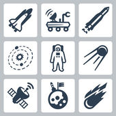 Vector space icons set — Stock Vector