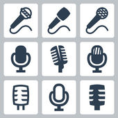 Vector isolated microphone icons set — Stock Vector