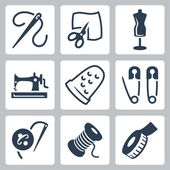 Vector tailor and sewing icons set — Stock Vector
