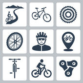 Vector bicycling, cycling icons set — Stock Vector
