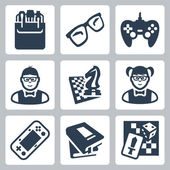 Vector nerd icons set — Stock Vector