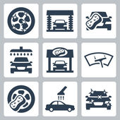 Vector car wash icons set — Stock Vector