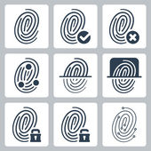 Vector fingerprint icons set — Stock Vector