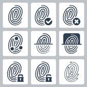 Vector fingerprint icons set — Stock Vector