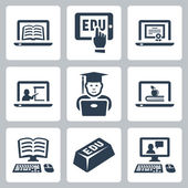 Vector online education icons set — Stock Vector