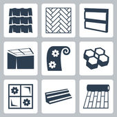 Vector building materials icons set — Stock Vector