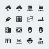 Vector network mini icons set — Stock Vector