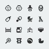 Vector baby mini icons set — Stock Vector