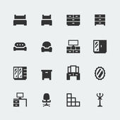 Vector home furniture mini icons set — Stock Vector