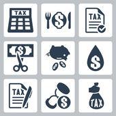 Vector tax icons set — Stock Vector