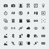 Vector camera functions mini icons set — Stock Vector