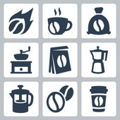 Vector isolated coffee icons set — Stock Vector
