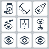 Vector optometrie icons set — Stockvector