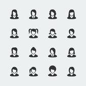 Vector women mini icons set — Stock Vector