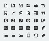 Vector text editor mini icons set — Stock Vector