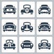Vector old cars icons set, front view — Stock Vector #44574571
