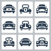 Vector old cars icons set, front view — Stock Vector