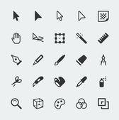 Vector graphic editor mini icons set — Stock Vector