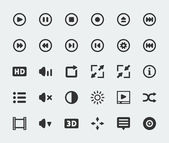 Vector video player mini icons set — Stock Vector