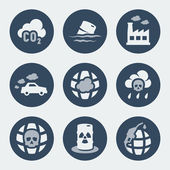 Vector pollution icons set — Stock Vector