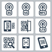 Mobile network and QR-code icons — Stock Vector