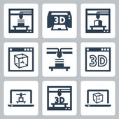 3D printer icons — Stock Vector