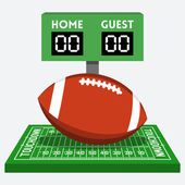 American football field and ball — 图库矢量图片