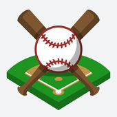 Baseball field, ball, and bat — Vecteur
